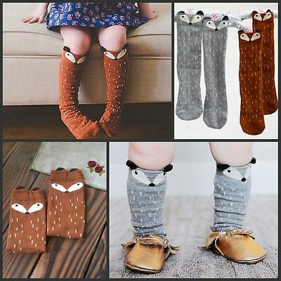 Cute Baby Kids Toddlers Fox Girls Knee High Socks Tights Leg Warmer Stockings Du
