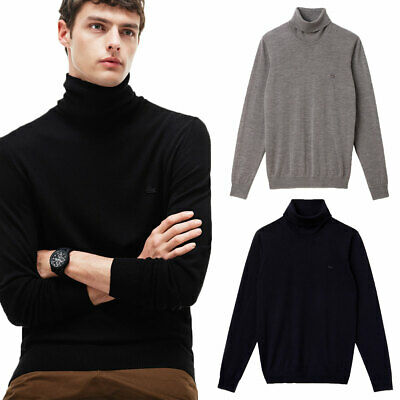 Lacoste Mens Turtleneck Roll Neck 100% Wool Jersey Sweater 32% OFF RRP