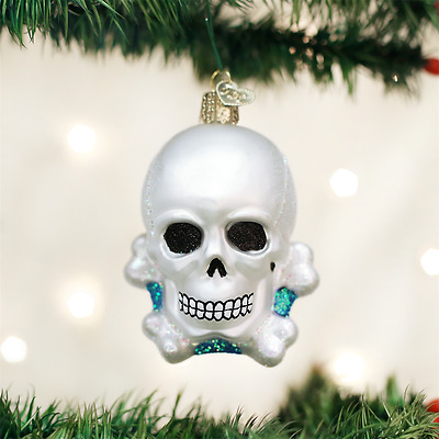 Skull And Crossbones Glass Ornament Old World Christmas New in Box Halloween