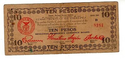 Philippines Billet 10 PESOS 1943 PS488 COMMONWAELTH EMERGENCY MINDANAO CURRENCY