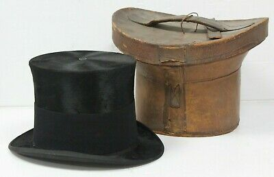 Antique Silk Top Hat by C.S. Sheperd Size 6 7/8 with Brown Leather Hat Box