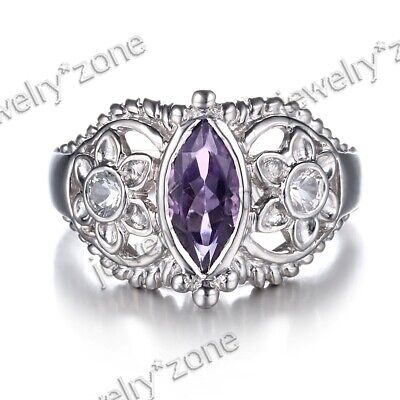Marquise Amethyst Antique Filigree Unique Wedding Fine Ring Sterling Silver 925