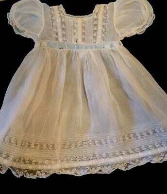 Beautiful Victorian White Organza Lace  Embroidered Small Childs Dress.