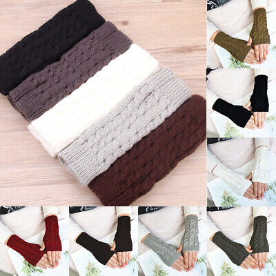 Women Winter Warm Arm Gloves Casual Long Half Knitted Arm Sleeves Riding Mittens