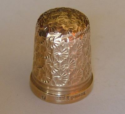 Very Good Quality English Hallmarked 9Ct Gold Thimble, J Swann & Son, Birmingham