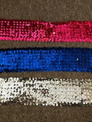 SOLD BTM STUNNING 6 ROW ELASTIC STRETCH SEQUIN TRIM 55MM VARIOUS COLOURS