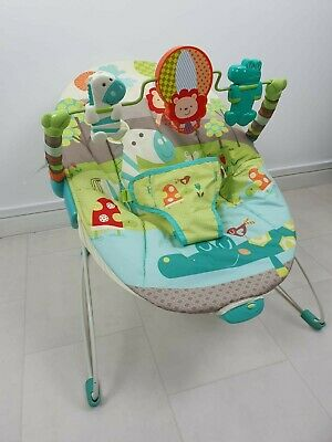 Bright Stars Animal Theme Vibrating Baby Bouncer With Interactive Toy Bar