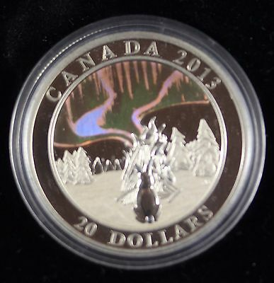 **2013**Northern Lights, The Great Hare,  RCM Proof Silver $20 Dollar Coin