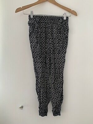 Girls YD Trousers 8-9 Years Black White Casual Cotton Slim <JS3481