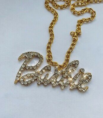 Gold Look Chain Pendant Necklace Crystal Bling Logo Fashion Fancy