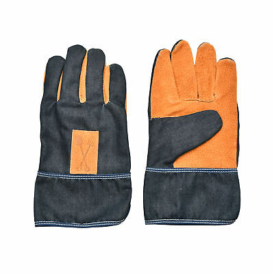 Denim and Faux Leather Short Garden Gloves