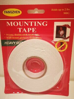 2x Strong Double Sided Mounting Foam Tape Heavy Duty Sticks Like Nails 20mm x 5m