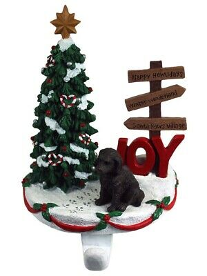 Labradoodle Stocking Holder Hanger Chocolate