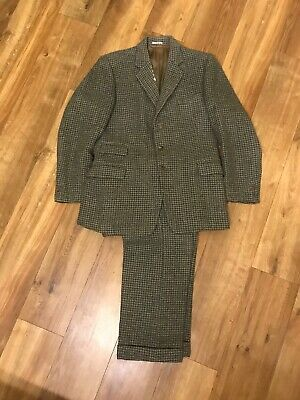 Vintage Mens Green Brown Houndstooth Dogstooth Check Suit Jacket & Trousers