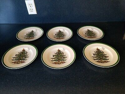 """Lot Of 6 Spode Christmas Tree Salad Plates S3324 Made in England 7 3/4"""" Green"""