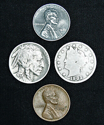 Mixed lot (4) Old US Coins - Buffalo Liberty V Nickel Steel Wheat Cent Penny