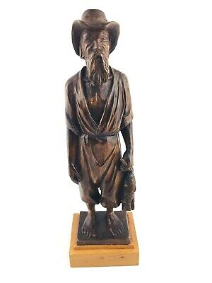 VINTAGE Hand Carved Wooden Statue Asian Old Man Fisherman Figure 10 1/2""