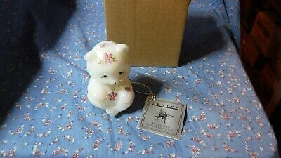 """Fenton White Opalescent Bear Hand Painted Flowers Hearts 3 1/2"""" H  C46802"""