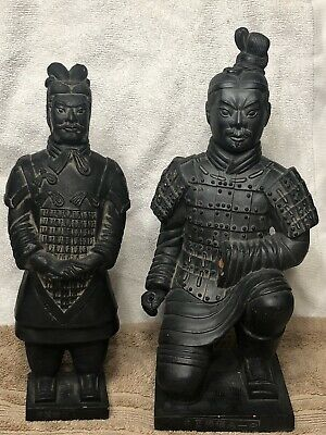 Pair Of Vintage Large Chinese Terracotta Warriors Soldiers Statues Figurines