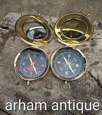 Nautical Solid Brass working Compass Marine Maritime Astrolabe Camping Compass