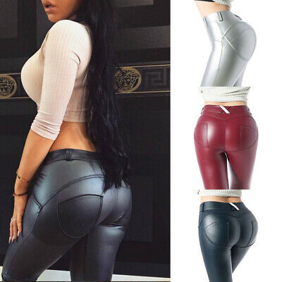 UK Womens Sexy Push UP Pants Leather Look Trousers Stretchy Denim Leggings Jeans