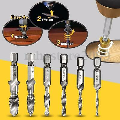 6pc Spiral Flute Hss Combination Countersink Screw Tap Drill Bit Set M3 M4-M10
