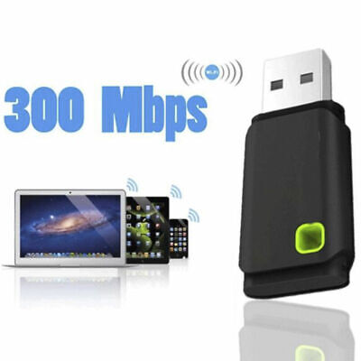 300Mbps USB Wireless WiFi Network Receiver Card Adapter For Laptop Desktop PC
