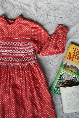 Vtg 70s 5-7 Smocked Red Dress Peter Pan Collar Kids Festive Prairie Xmas Party