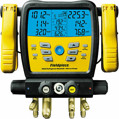 Fieldpiece SM480V Wireless 4-Port SMAN™ Refrigerant Manifold and Micron Gauge