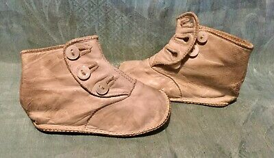Pair Of Child's Antique Cream Kid Leather Bootees.