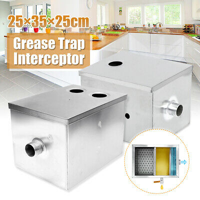 Single/Double Inlet 8LB 5GPM Grease Trap Interceptor Oil Water Separator Kitchen