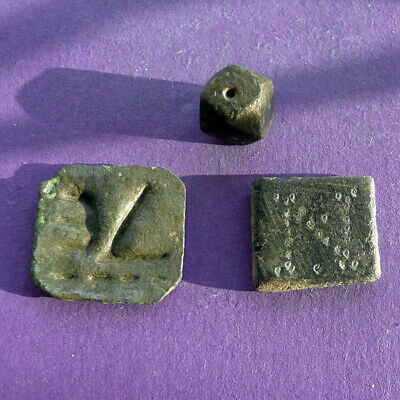 59AB Lot of 3 Roman Byzantine weights for scales 10-18mm 18.0g