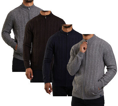 Mens Premium Wool Blend Full Zip Collared Cable Knit Cardigan Top M-XXL