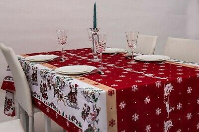 Nappe de noel rouge rectangulaire - Anti Taches, Infroissable - 100% Polyester (