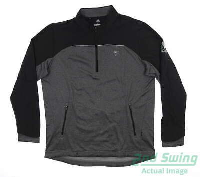 New W/ Logo Mens Adidas Go To 1/4 Zip Golf Pullover Large L Black/Gray MSRP $99