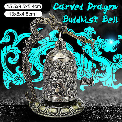 Dragon Carved Buddhist Bell Vintage Style Bronze Alloy Antique Lock Home Decor