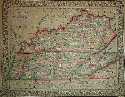 Vintage 1869 KENTUCKY - TENNESSEE MAP Old Antique Original & Authentic Atlas Map