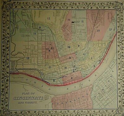 2 Vintage 1869 CINCINNATI - OHIO INDIANA MAPS Old Antique Original & Authentic