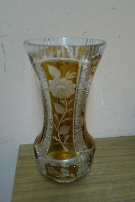 "Vintage Bohemian Czech Crystal Art Glass Amber Cut To Clear 11"" Vase"