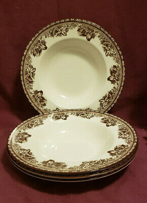 """Set of FOUR (4) WEDGWOOD China - PLYMOUTH BROWN Pattern - 9.5"""" Rimmed SOUP BOWLS"""