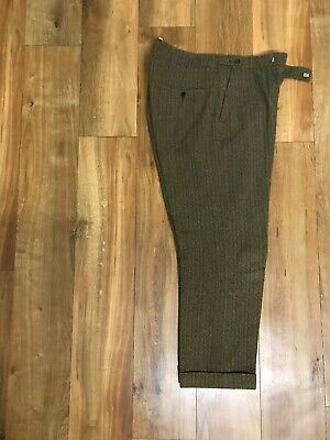 Vintage Peaky Blinders Style Brown Wool Stripe Trousers