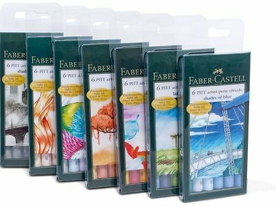 Faber-Castell PITT Artist Pens - Pack of 6 - India Ink, Skin Tones, Blue, Grey
