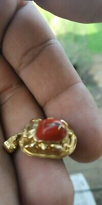 antique Egyptian Amulet Gold Scarab Luck With natural coral stone