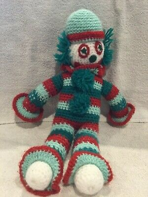 Vintage Hand Made Crocheted Clown Doll in Green and Red