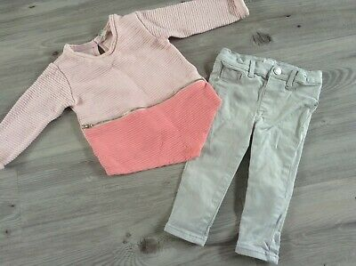 (2)100% River Island Girls Lovely Small Autumn Winter Bundle 12-18Mths Jeans Top