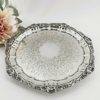 "Poole Silver Co. Silverplate Old English Footed Round Tray 10 1/2"" 3208 Exc Cond"