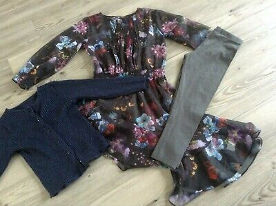 (C1) Next Nutmeg Matalan Girls Small Bundle 3-4Yrs Cardi Leggings Sheer Dress