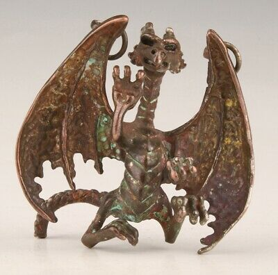 China Old Bronze Hand-Cast Dragon Statue Cool Pendant Gift Collec