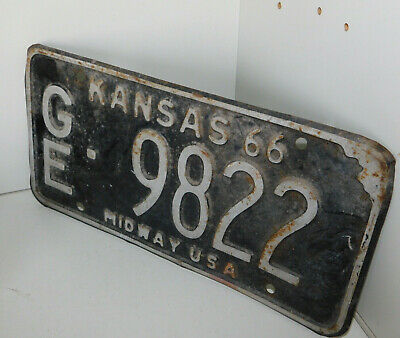 vintage PLAQUE immatriculation KANSAS 1966 midway USA GE-9822 license plate US