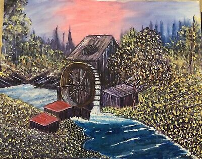 Original Acrylic Painting Landscape Bob Ross Style On Canvas - Water Mill